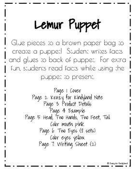 Lemur Craft: Puppet (Zoo, Summer, Animal Research)