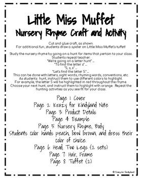 Little Miss Muffet Craft and Activity (Nursery Rhyme, Spider)