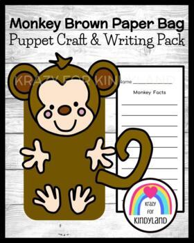 Monkey Craft for Kindergarten: Puppet (Zoo, Summer, Animal Research)