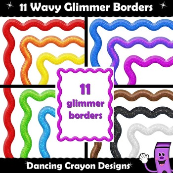 Borders: Wavy Glimmer Frames - Clip Art