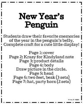 New Year Craft: Penguin - I had a WADDLE fun this year! (Winter, January)
