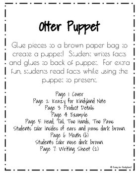 Otter Puppet (Zoo, Summer, Animal Research)
