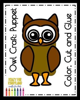 Owl Craft For Kindergarten Puppet Fall Autumn Nocturnal Animals