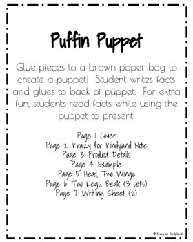 Puffin Craft and Writing: Puppet (Arctic Animal Research, Winter)