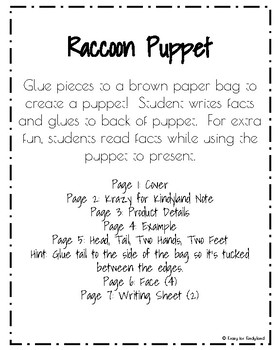 Raccoon Craft: Puppet (Zoo, Summer, Animal Research)