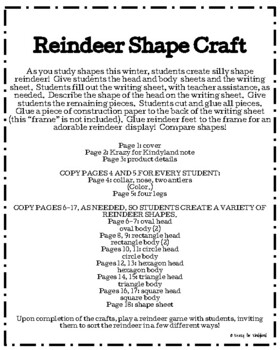Reindeer Shape Craft (Christmas, Rudolph, Holidays)