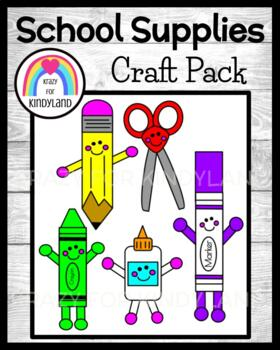 School Supply Crafts for K (Back to School, First Day, Crayon, Scissors,  Glue)