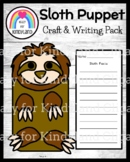 Sloth Craft for Kindergarten: Puppet (Zoo, Summer, Animal Research)