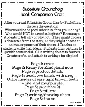 Substitute Groundhog Book Companion Craft (Groundhog Day)
