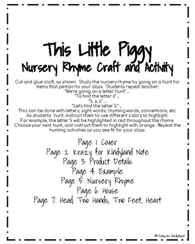 This Little Piggy Craft and Activity (Nursery Rhyme, Spring, Farm)