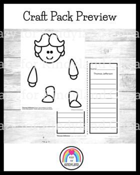 Thomas Jefferson Craft and Writing: Puppet (USA, Presidents)