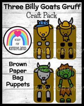 Three Billy Goats Gruff Craft Pack: Brown Paper Bag Puppets