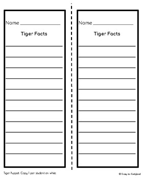 Tiger Craft: Puppet (Zoo, Summer, Animal Research)