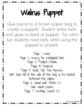 Walrus Craft: Puppet (Zoo, Summer, Animal Research)