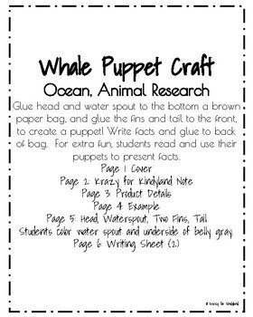 Whale Craft: Puppet (Ocean, Animal Research)