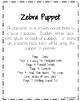 Zebra Craft: Puppet (Zoo, Summer, Animal Research)