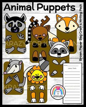 Zoo Craft and Writing Pack: Puppets (Lemur, Deer, Fox, Possum, Lion, Raccoon)