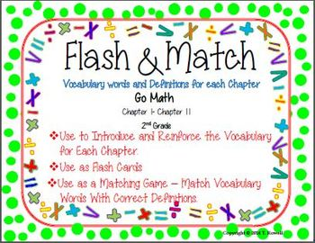 Flash & Match Vocabulary and Definition Cards Go Math Second Grade