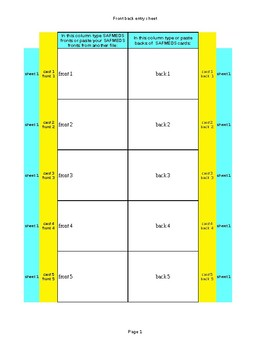 Flash Card Templates Excel By Middle School Awesome Academy Tpt