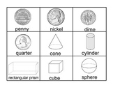 Flash cards - Coins, 3D Shapes, ten frames, tally marks
