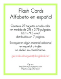 Flash cards Spanish alphabet. Flash cards Alfabeto en español.