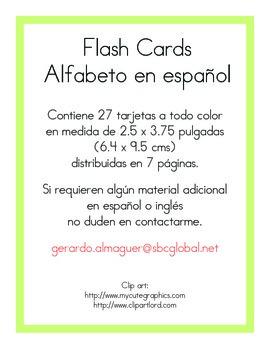 Flash cards Spanish alphabet. Flash cards Alfabeto en español.