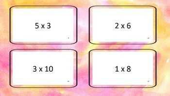 Flash cards multiplication 0-12