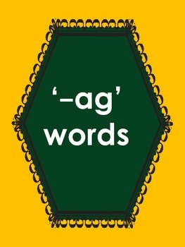 Flash cards of '-ag' words with activities.