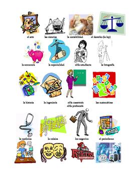 Flash cards- school subjects, classes, estudios, asignaturas, la escuela