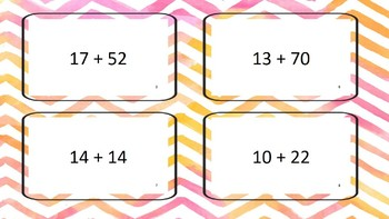 Flash cards with sums to 100 no regrouping