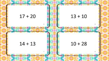 Flash cards with sums to 50 no regrouping