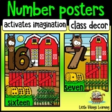 Number Posters 1 to 20 Farm Decor