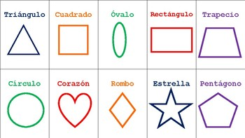 FlashCards- Shapes in Spanish- Formas en Español- En Colores