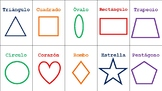 FlashCards- Shapes in Spanish- Formas en Español- En Colores