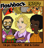 Flashback Clip-Art: 1970's (16 pc. BW/Grayscale & Color)