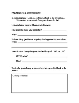 Flashback Essay graphic organizer