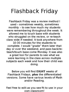 EDITABLE Flashback Friday Review