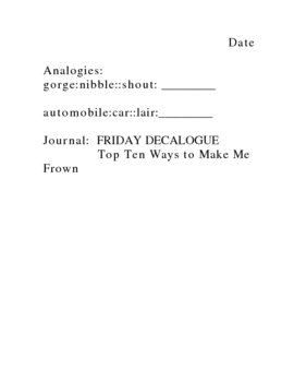 Flashbacks/ Journal and Analogies includes more than 30