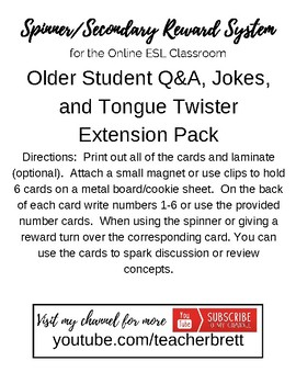 Flashcard Expansion Pack for Intermediate/Advances Online ESL Students