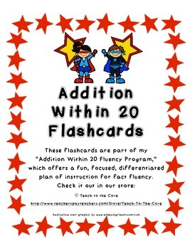 """FREE Flashcards from """"Addition Within 20 Fluency Program-Master the Math Facts"""""""