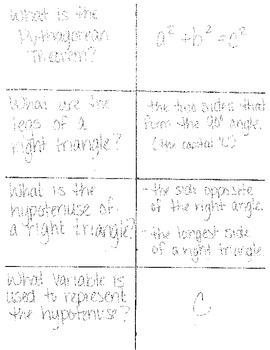Flashcard Review Pythagorean Theorem