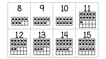 Flashcards 0-20 with tens frame