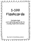 Flashcards 1-100 with high contrast for visually impaired students
