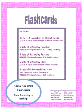 Flashcards: ABLLS-R Aligned: Associations: Sort by Class, Function, Feature