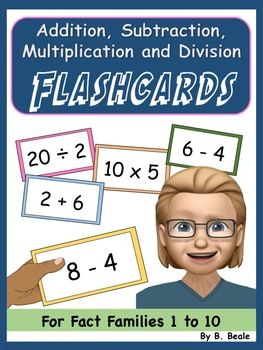 Flashcards - Add, Subtract, Multiply and Divide - Fact Families - FREEBIE