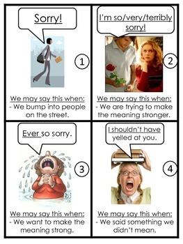 Flashcards - Expressions {Apologising/Responding} ESL