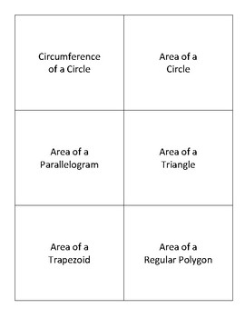 Flashcards - Area and Circumference