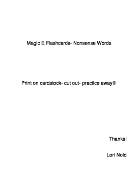 Flashcards Magic E Silent E Nonsense Words