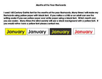 Flashcards--Months of the year 150 Century Gothic Font