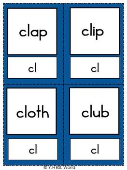 Flashcards Phonics Consonant Blends L